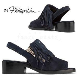Phillip Lim 3.1 Fringe Suede Slingback Sandal blue